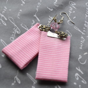 pink striped earrings